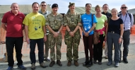 Employers with Brigadier David Eastman (Commander 102 Logistic Brigade) and Colonel Helen Smyth (oc 225 Med Regt) at Akrotiri