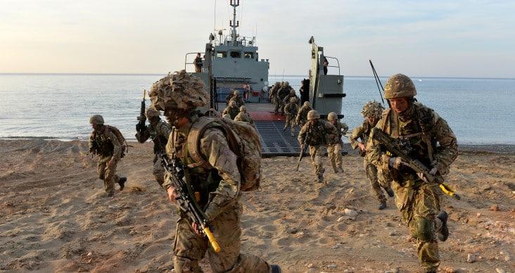 7 Scots during beach landing
