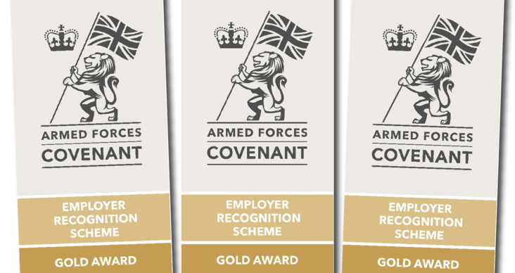 3 Employer recognition Gold Award graphics showing armed forces covenant logo with crown and lion holding a british flag