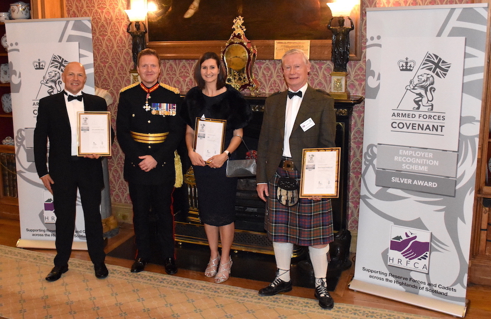 The 2021 ERS Silver recipients (from left) Colin McAllister of John Clark Motor Group, Jenna Jackson of SSE plc and Ron MacEachgran of Isle of Harris Distillers Ltd.
